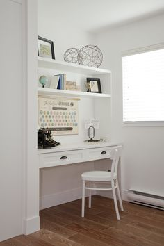 Great idea for a small home office / built-in desk for a laptop.  Simple floating shelves and accessories #HomeOffice #JillianHarris