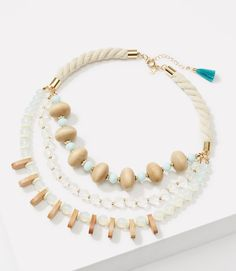 Thumbnail Image of Color Swatch 3019 Image of Wooden Beaded Rope Necklace