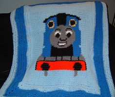 Ravelry: Thomas the Train Graph Pattern for crochet Afghan pattern by Diane… Graph Crochet, Baby Afghan Crochet, Crochet Quilt, Crochet Borders, Crochet Art, Crochet For Kids, Crochet Crafts, Crochet Projects, Crochet Blankets