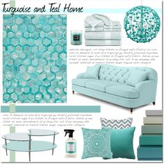 Turquoise and Teal Home by skybeauty1109 on Polyvore featuring interior, interiors, interior design, home, home decor, interior decorating, Kate Spade, Walker Edison, Michael Amini and HAY
