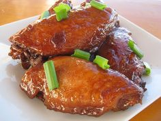 Chinese Chicken Wings Recipe  Serves 4  Ingredients: 3 lb. chicken wings  1/2 cups water  2 tablespoon lemon      juice  1/2 cups soy sauce...