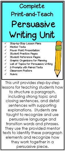 Persuasive writing unit of work