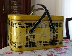 Vintage Yellow Picnic Ryte Picnic Basket by MissConduct*, via Flickr ~ I have this picnic box