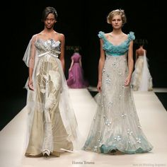 Champagne gold and silver, seagreen and pearl wedding dresses from Hana Touma