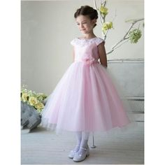 Pink Flower Girl Dresses, Long Flower Girl Dresses, Cap Sleeve Flower Girl Dresses, Flower Flower Girl Dresses, Ankle-length Flower Girl Dresses