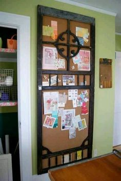 Message Center! Add cork to the back of an old screen door, (cut the door in half if you have a smaller wall...)