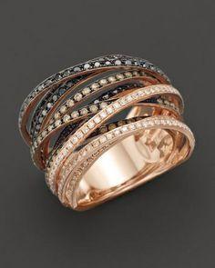 Black, rose, white, gold, diamond ring