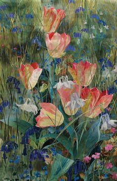 detail of Flowering Meadow Series: Georgette Tulips by Amanda Richardson - click to return