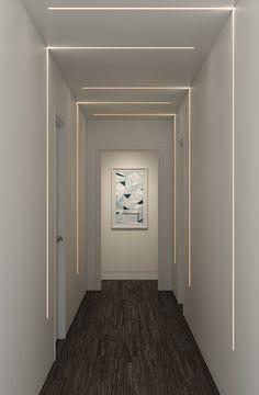 Led Hallway Lighting, Strip Lighting, Living Room Recessed Lighting, Cove Lighting Ceiling, Modern Recessed Lighting, Corner Lighting, Hallway Ceiling, Hidden Lighting, Modern Led Ceiling Lights