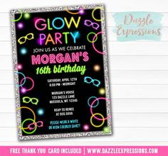 Printable Glow in the Dark Birthday Invitation | Sweet Sixteen | DIY Kids or Teen Party | Girls 16th Birthday | Disco Dance Party | Just Dance Invite | Glow Party | 70's Event | Favor Tags | Banner | Food Labels | Party Signs | Matching Party Package Decor!