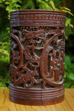 CHINESE BRUSH POTS | bamboo carved brush pot | Chinese Inspiration