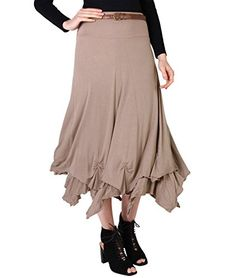 Boho Maxi Long Skirt Size UK 20 US 16 Mocha 6521 -- Check out the image by visiting the link.