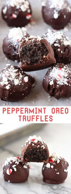 Peppermint Oreo Truffles! Only 6 ingredients and no-bake!