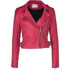 IRO Fuchsia Leather Biker Jacket