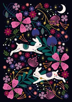 Wallpaper Backgrounds Dark - Carly Watts Illustration: Rabbits in Flight Illustration Art Nouveau, Cute Illustration, Woodland Illustration, Rabbit Art, Guache, Bunny Art, Pattern Art, Wallpaper Backgrounds, Wallpapers