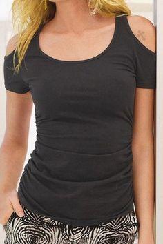Trendy U Neck Short Sleeve Solid Color Cold Shoulder T-Shirt For Women T-Shirts | RoseGal.com Mobile