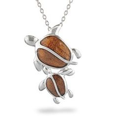 Sterling Silver Mother & Child Honu Pendant with Koa Wood* Inlay (Chain Included) #turtle #jewelry #mom