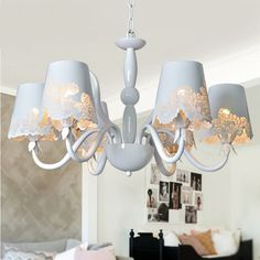 Multiple Chandelier White rustic cutout carved light white living room lights bedroom lamp ZX83