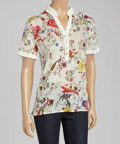 Another great find on #zulily! White & Red Floral Button-Up Top #zulilyfinds