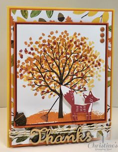 Stampin' Up!; card; paper craft; fall; sheltering tree stampm set; thankful forest friends stamp set; into the woods; Christine's Stamping Spot