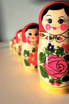 Set of matryoshkas – Russian nesting dolls. #Russia #folk #art #matryoshka