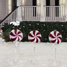 Peppermint Holiday Solar Stake Lights Set Of 3