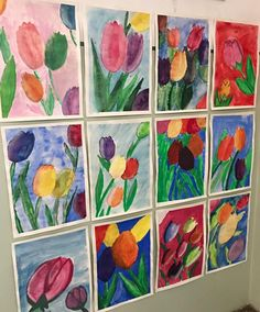 Grade Tulips (spring/ space) art for kids grade Spring Art Projects, Spring Crafts, Classe D'art, Art Therapy Projects, 2nd Grade Art, Middle School Art, Art School, Easter Art, Art Lessons Elementary