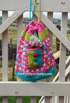 Posh Pooch Designs Dog Clothes: Sweet Treats Drawstring Beach Bag #Crochet Pattern