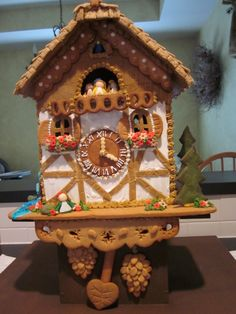 Gingerbread cuckcoo clock Housonfest 2011 Cool Gingerbread Houses, Gingerbread Decorations, Christmas Gingerbread House, Clocks Inspiration, Cuckoo Clocks, Ginger Bread, House Ideas, Holidays, Cookies
