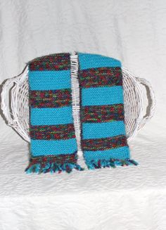Angel Hair Turquoise Striped Scarf by StitchinGalTX on Etsy