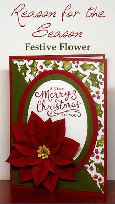 Reason for the Season and Festive Flower Builder Punch - - Christmas Card - Instructions on how to make flower included - Create With Christy - Christy Fulk, Stampin Up! Christmas Cards 2018, Homemade Christmas Cards, Christmas Settings, Noel Christmas, Christmas Paper, Xmas Cards, Homemade Cards, Holiday Cards, Handmade Christmas