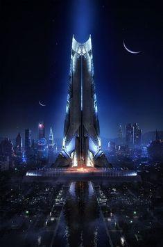 Best of Cyberpunk Art Futuristic Architecture - Sesempatmu Saja Arte Cyberpunk, Cyberpunk City, Futuristic City, Futuristic Architecture, Fantasy City, Sci Fi Fantasy, Fantasy World, Dark Fantasy, Sci Fi City