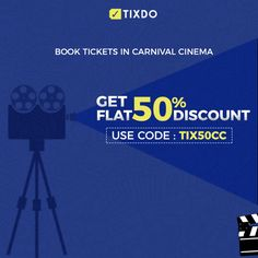 Get FLAT 50% off on Carnival Cinemas. Just use TIX50CC and book two tickets at the price of one! Visit www.tixdo.com   #Movietickets #Bollywood #Hollywood #Tixdo.com #Discounts Movie Tickets, Carnival, Bollywood, Cinema, Coding, Flat, Books, Movies, Mardi Gras