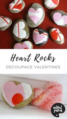 Make simple decoupage heart rocks for a fun Valentine's Day craft, gift, or decoration. We used cute fabric for our heart rocks but you could also use paper. #valentinesgift #hearts #craft #valentine #valentinesday #rocks #rockart