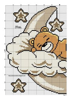 Teddy on Moon Cloud Left Side graph Baby Cute Stars  https://au.pinterest.com/elenamarzinotto/