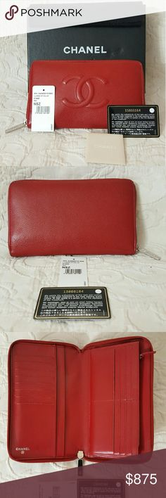 Chanel Caviar Wallet Red Lipstick Large Zip 100% Authentic or your Money Back. Excellent Condition - Used 3 Times Only and Clean inside. Comes with Card, Price Tag, Box,Booklet and Dust Cover(Please check photos for best description)Much Cheaper and More Savings PP/Local Buyers/eBay. PLEASE FOLLOW US FOR MORE GREAT DEALS TO COME!!! CHANEL Bags Wallets