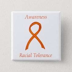 Racial Tolerance Orange Awareness Ribbon Pin