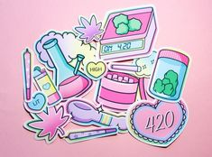 Weed Wallpaper, Aesthetic Iphone Wallpaper, Weed Stickers, Cute Stickers, Vaporwave, Trippy Pictures, Stoner Art, Weed Art, Stickers