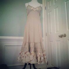 Boho Long Linen Ruffled Dress Shabby Chic Dress by JosefineandMe, $58.00
