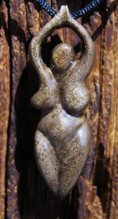 "Carved Walnut Wood Goddess 3/4"" x 2 1/2""  www.facebook.com/ArtFromTheWoods"
