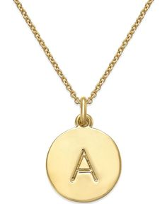 kate spade new york 12k Gold-Plated Initials Pendant Necklace - Jewelry & Watches - Macy's