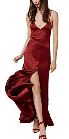 Womens Sexy Deep V Neck Strap Evening Formal Slip Long Dress Gowns Burgundy  L    77e7f6797828