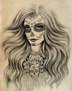 Sugar Skull drawing by Vivian Lau Sugar Skull Mädchen, Sugar Skull Tattoos, Skull Tattoo Design, Tattoo Designs, Skull Design, Catrina Tattoo, Day Of The Dead Art, Candy Skulls, Skull Art