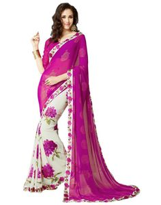 Shop Purple Georgette Floral Print Saree With Blouse by Honeydews Fabrics online. Largest collection of Latest Sarees online. ✻ 100% Genuine Products ✻ Easy Returns ✻ Timely Delivery