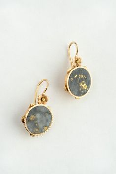 // Victorian Gold Quartz Earrings - A pair of highly collectible, and exceptionally pretty, Victorian gold quartz earrings. The stones are beautifully matched and likely cut from the same source.  - from QUITOKEETO.com