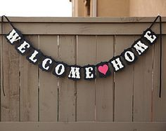 WELCOME HOME banner, Housewarming Party Banners, Military Homecoming Sign, Signs | Black & Cream with Red Hearts
