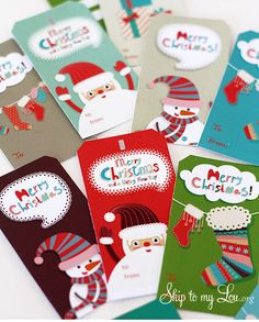 Free printable Christmas gift tags for kids (or the young at heart) at Skip to My Lou. How cute are these Santas!