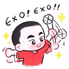 Miss U so much, Xiuxiu Exo Cartoon, Cartoon Fan, Cartoon Memes, Kpop Exo, Exo Xiumin, Exo Ot12, Park Chanyeol, Chanbaek, Exo For Life
