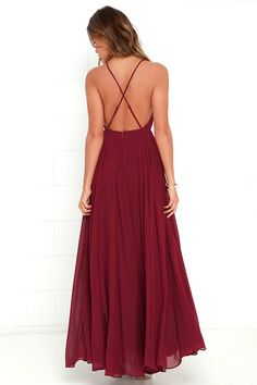 The Mythical Kind of Love Wine Red Maxi Dress is simply irresistible in every single way! Lightweight Georgette forms a fitted bodice with princess seams and an apron neckline supported by adjustable spaghetti straps that crisscross atop a sultry open back. A billowing maxi skirt cascades from an elasticized waistline into an elegant finale, perfect for any special occasion! Hidden back zipper with clasp.