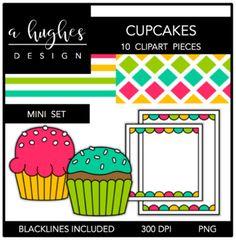 Cupakes Mini Clipart Set {A Hughes Design}